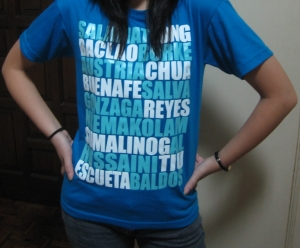 Me wearing a shirt featuring the Blue Eagles team for UAAP71